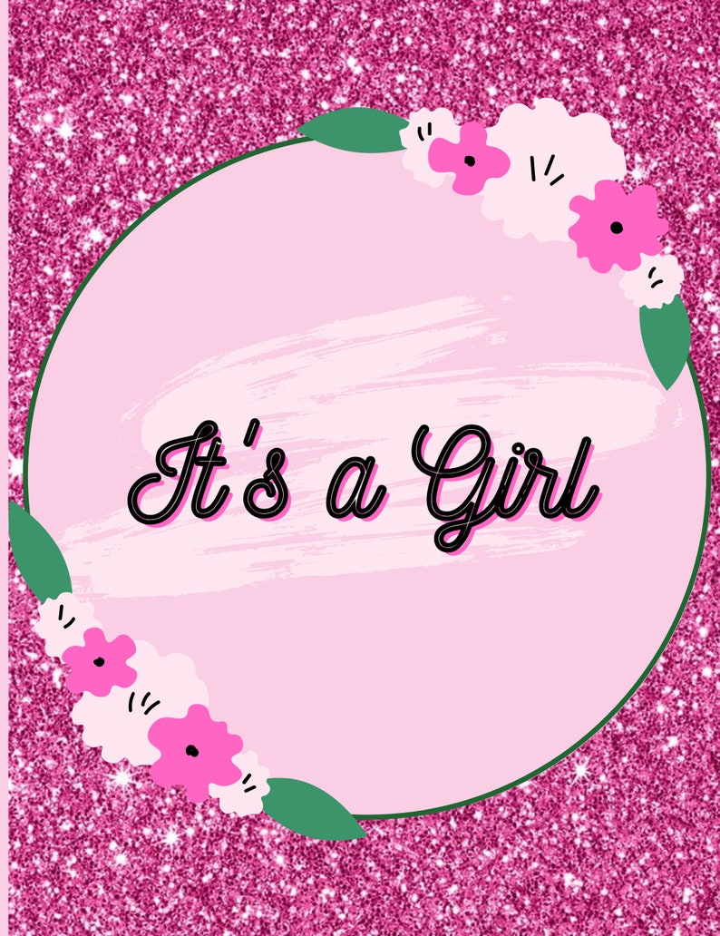 Pink Themed Baby Print Baby Shower Cards Baby Shower Decoration Printable Wall Art It/'s a Girl Digital Print Page