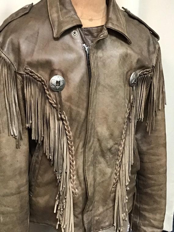 Vintage Leather Jacket/Fringed leather Jacket/Leat
