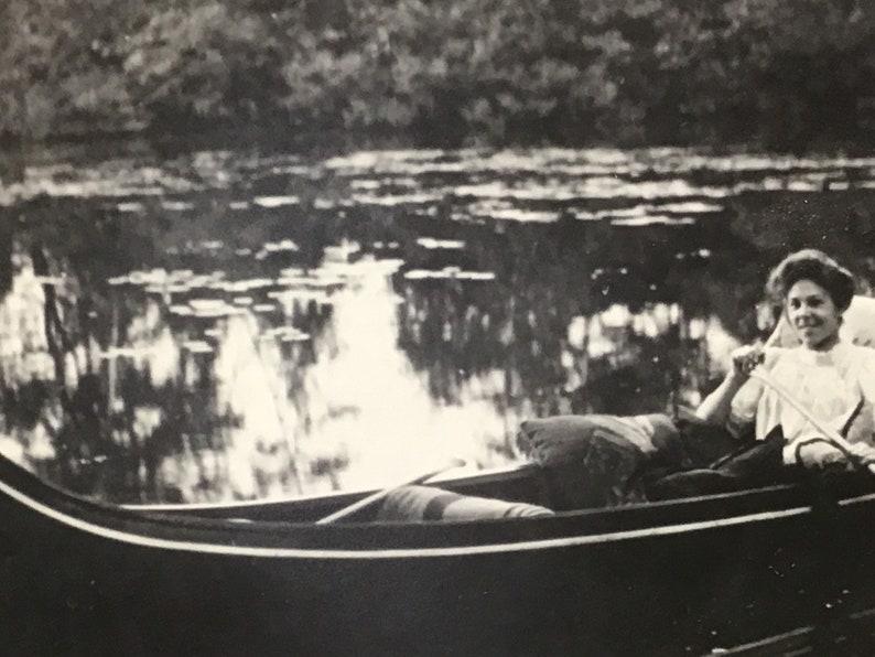 Vintage Black and White Photo1900s photosPhotography from Boston 1900sCharles River photoCanoe on Charles River Boston MA photo