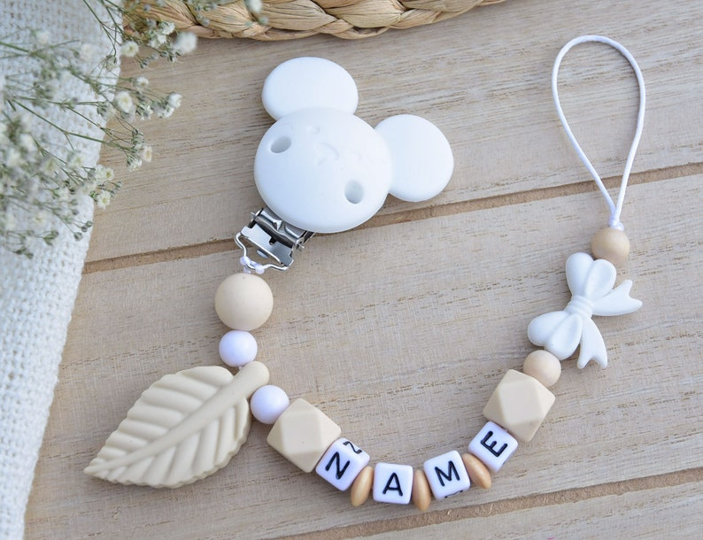 Silicone Set Minnie Mouse Pacifier Chain Name Griffon Stroller Chain Pendant Mouse Grey Blue Baby Tooth Gift Birth Boy Girl