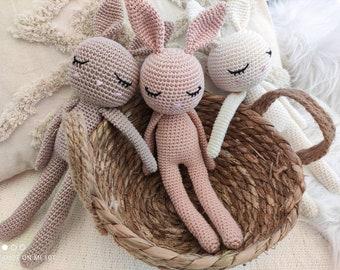 Cuddly toy bunny bunny nature baby girl boy brown cream pink amigurumi crochet toy gift cuddly animal birth