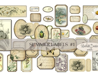 SUMMER LABELS #1, Ephemera, Embellishments, Junk Journal, Digital Sticker, Collage Elements, Fussy Cut, Collage Sheet, Paper printable