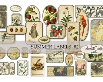 SUMMER LABELS #2, Ephemera, Embellishments, Junk Journal, Digital Sticker, Collage Elements, Fussy Cut, Collage Sheet, Paper printable