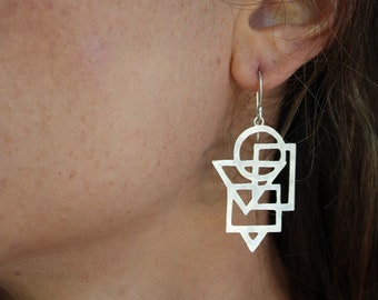 Geometric silver handmade earrings / Everyday sterling silver minimalist dangles / One of a kind meaningful jewelry gift