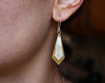 Silver and brass textured dangles / layered diamond golden silver earrings / handmade one of a kind jewelry
