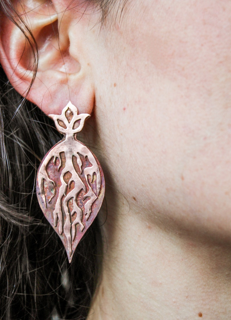 Copper roots handmade layered earrings  one of a kind pushback drop earrings  heat patina nature inspired jewelry