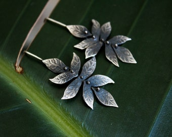 Dangling leaf flower earrings / handmade sterling silver dangles / nature-inspired acid etched jewelry / one of a kind gift