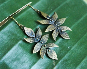 Dangling leaf flower earrings / handmade golden brass dangles / nature-inspired acid etched jewelry / one of a kind gift