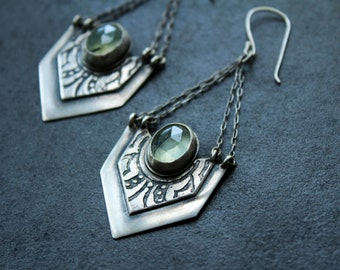 Prehnite and silver double chain dangle earrings / handmade gothic chic drops / acid etched silver and faceted rutilated green gemstone