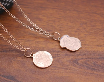 Dainty Saint Michael the Archangel necklace , Rose gold Saint Michael medal necklace,St. Michael round pendant , Birthday gift for women