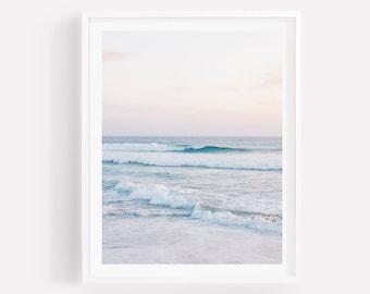 Coastal Beach Photography, Ocean Wall Art, Beach Wall Art, Coastal Photography, Pastel Sunset, Beach Print, Coastal Wall Art