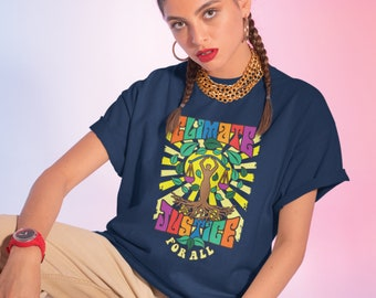 Climate Justice!! 70s Poster Art Organic Cotton T-Shirt/Hippie Boho Vibe/Environmental Equality Activist/Vegan Fabric & Print/Earth Friendly