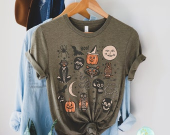 Halloween Doodles Vintage Halloween Shirt Fall Apparel Witchy Clothing Witchy Clothes Fall T-Shirt Short Sleeve Halloween Vintage Tshirt