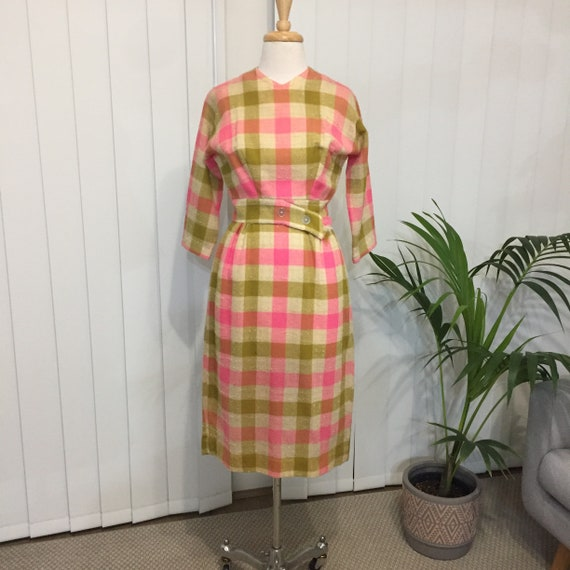 1950's Wool Check Dolman Sleeve Pencil Dress