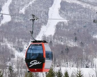 Stowe Vermont Ski Mountain Photo Print, Un-Framed Gondola Photograph, Winter Ski Photo, Stowe Wall Decor, Vermont Gifts, Cabin Wall Art