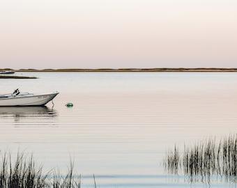 Boat Sunset Reflections Cape Cod Photography Un-Framed Photo Print, Cape Cod Art, Pastel Sunset Print, Nautical Wall Art, Coastal Decor