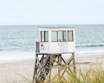 Coastal Beach Lifeguard Chair Art, Cape Cod Photography Un-Framed Photo, Beach House Decor, Nauset Beach Photo, New England Coastal Art