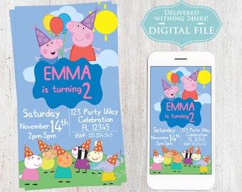 Peppa Pig Birthday Invitation, Peppa Pig Birthday Invitation, Kids Birthday Invitation