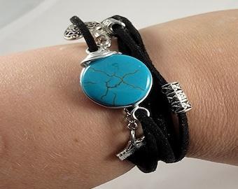 Black Leather Bohemian Wrap Bracelet by Susie's Gems Boutique, Leather Wrap Bracelet