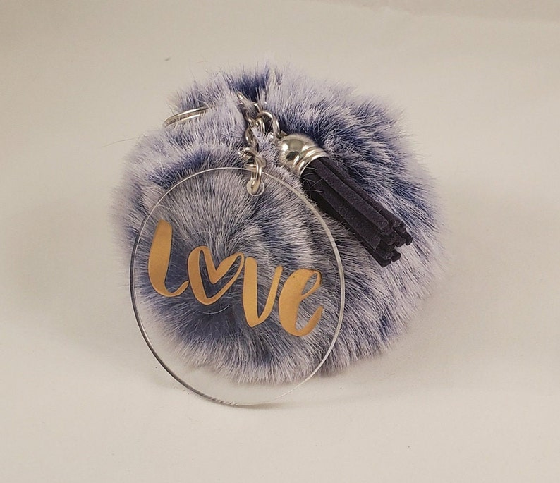 Purple Big Pompom Keychain with Love Charm and Tassel