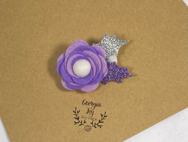 purple glitter clip holiday baby barrette holiday glitter clip baby toddler girl felt barrette sugar plum hair clip Christmas hair clip