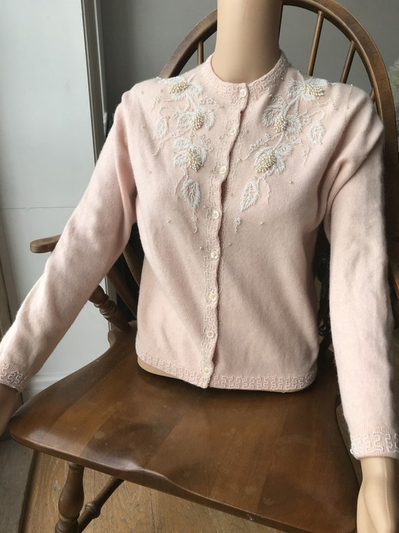 1950s Cashmere and Wool heavily embellished cardig