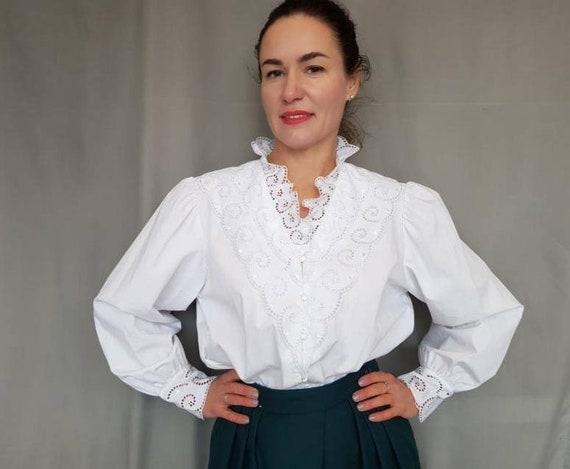 Vintage cotton Blouse, White  Blouse, Puff sleeve