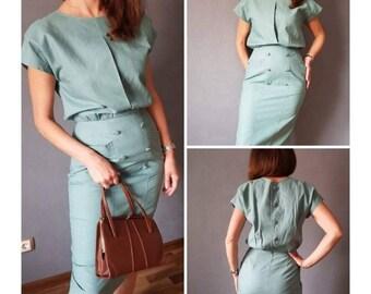 Vintage  dress, 80's dress, Turquoise Dress, size M