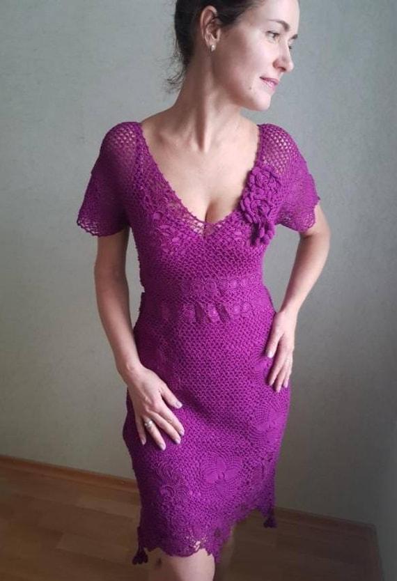Vintage Crochet dress, Crochet mini dress, crochet