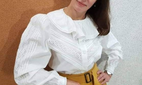 Vintage cotton Blouse, White  Blouse, Puffy sleeve