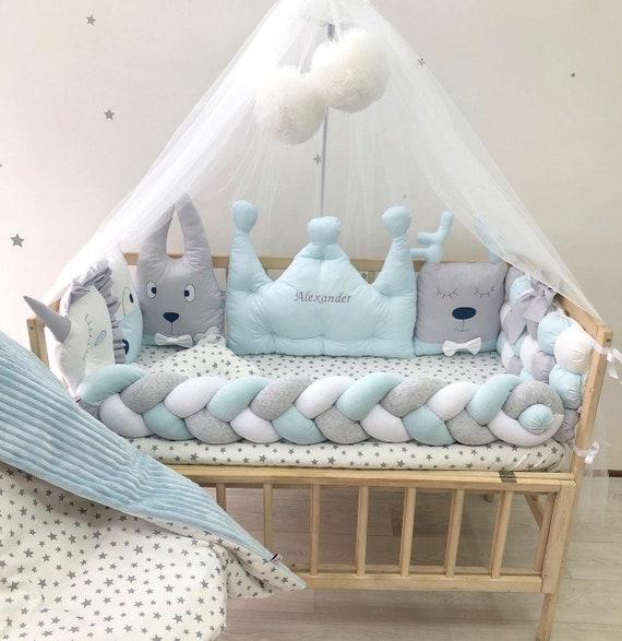 Newborn Sky Blue Crib Bedding Set Crown, Crown Baby Crib Bedding