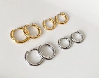 Round hoop earrings, stainless steel | Stainless Steel | Gold and Silver | Click closure | Gift | Hoop Earrings