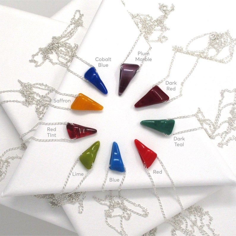Permanent Collection Colorful Wedge Pendant Necklace in Various Colors
