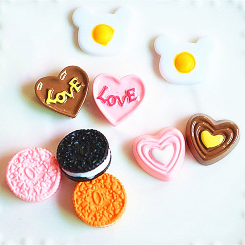 5102050pcs  Kawaii Flatback Fried Eggs love heart cake oreo Resin  Embellishments Scrapbooking DIY Accessories