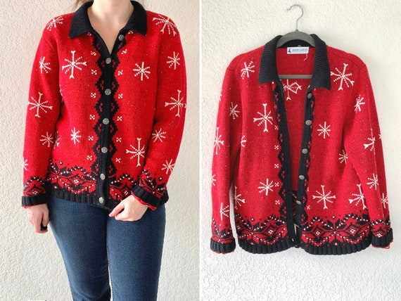 Vintage Ugly Christmas Sweater, Red Cardigan, Chri
