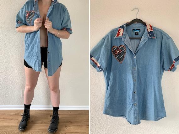 Vintage Oversized Denim, 90s Denim Shirt, Vintage