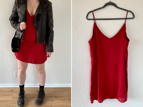 90s Slip Dress, Vintage Red Dress, Friends Outfit,
