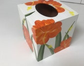 Hand painted wood boutique tissue box