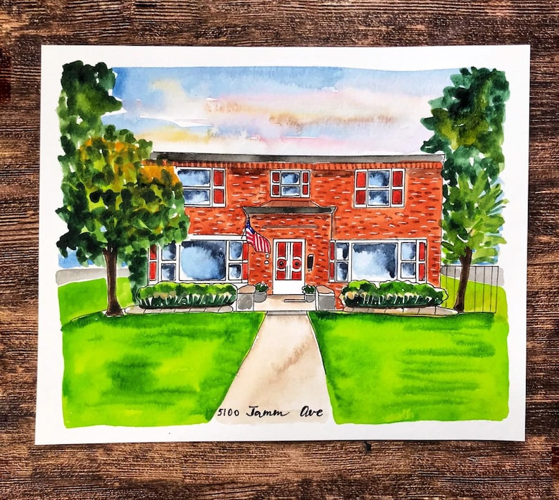 house drawing Custom watercolor house painting house portrait housewarming gift, realtor closing gift watercolor house painting