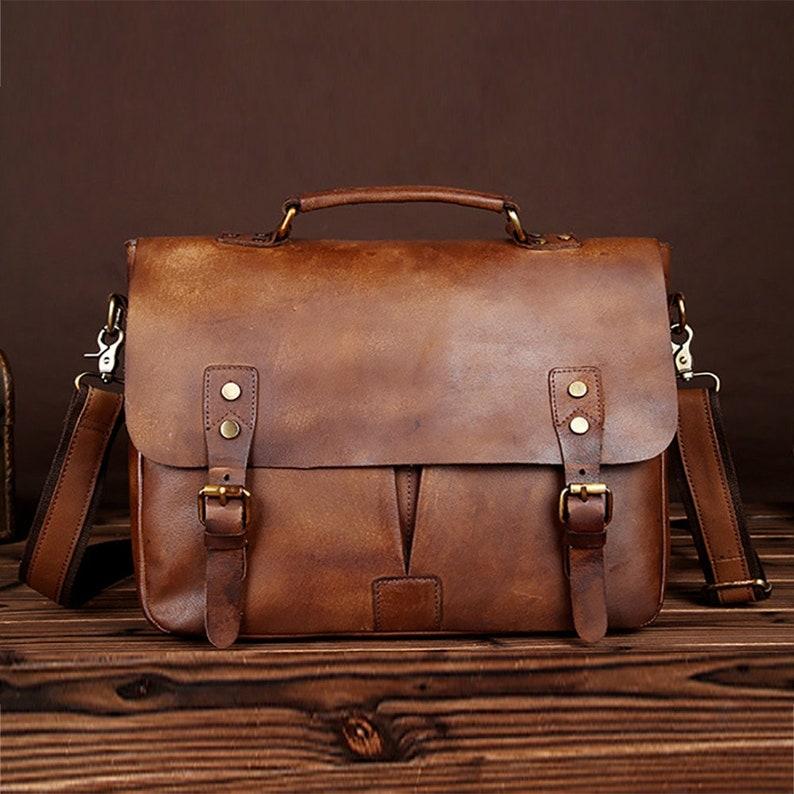 New Vintage Men Briefcase Best Favorite Cowhide Leather Office Computer Laptop iPad Protective Bag Handbag Laptop Tote Bag Fashion Business