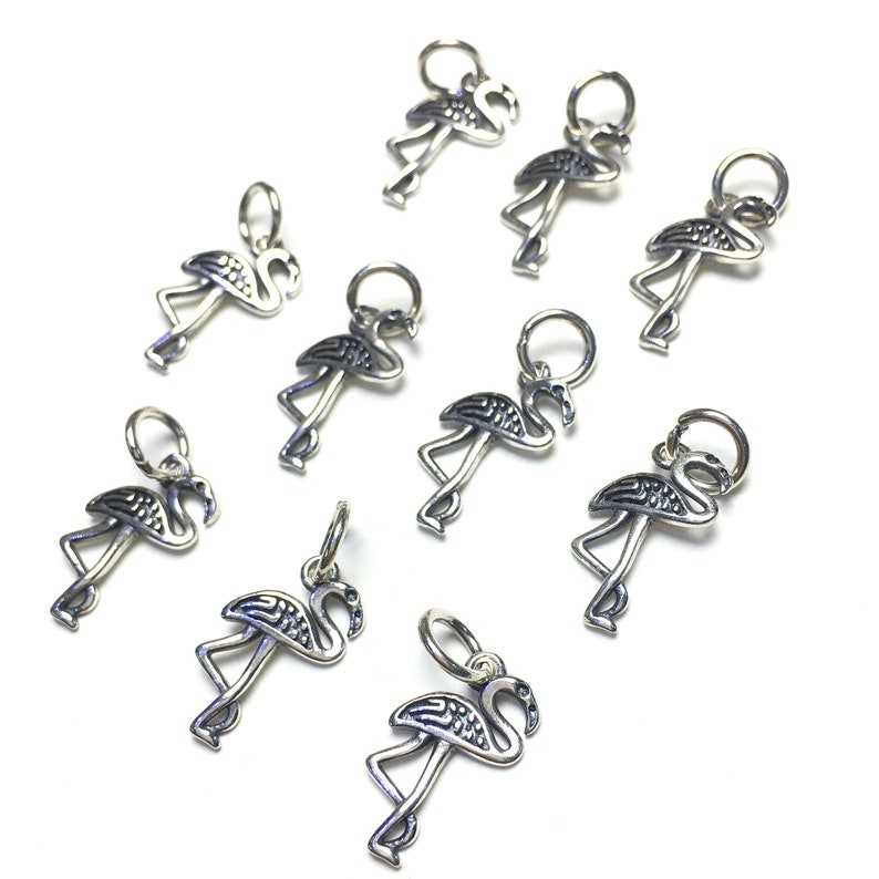 10pcs 10x15mm Sterling Silver Handmade Flamingo Pendant Charm Jewelry Findings for Diy Jewelry Making Earring Necklace Design,Silver Charms