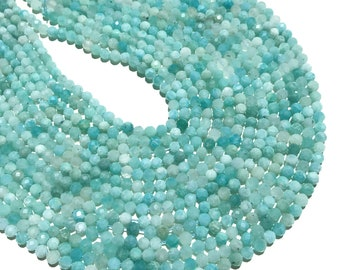 2mm 3mm 4mm Natural Amazonite Beads Faceted Round Shape for Bracelet Necklace Diy Jewelry Making Gemstone Spacer Bead 15inch Long Strand