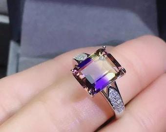Chunky freeform faceted ametrine sterling silver ring ametrine ring
