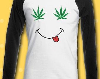 Weed Eye Smile Smoke Cannabis Funny Men Women Unisex Top Sweatshirt Hoodie 1709
