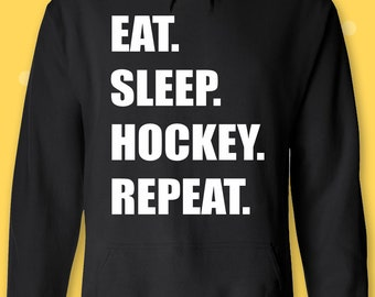 1Tee Kids Boys Eat Sleep Hockey Repeat T-Shirt