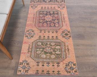 Oushak Runner Rug,Vintage Runner Rug 3814 Turkish Runner Rug 2x6 ft area runner,anatolian wool rug Beige rug runner Turkish Rug