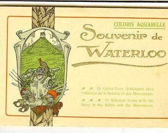 Vintage Postcard Folder: Souvenir de Waterloo, Coloris Aquarelle. Unused. 10 Cartes-Vues Artistiques