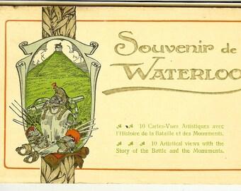 Vintage Postcard Folder: Souvenir de Waterloo. Unused. 10 Cartes-Vues Artistiques