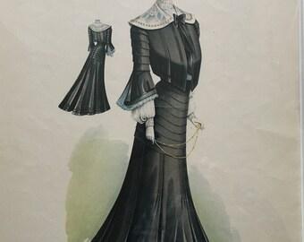 Vintage Fashion Print Le Bon Ton, April 1902, No. 927.
