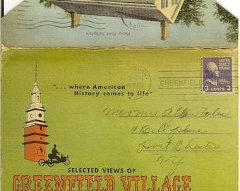 Vintage Souvenir Postcard Folder: Selected Views of Greenfield Village, Dearborn Michigan. Curt Teich, 1952.